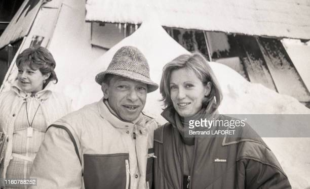 Le chanteur Henry Salvador et l'actriice Catherine Alric lors du Festival international du film fantastique d'Avoriaz Janvier 1984 France