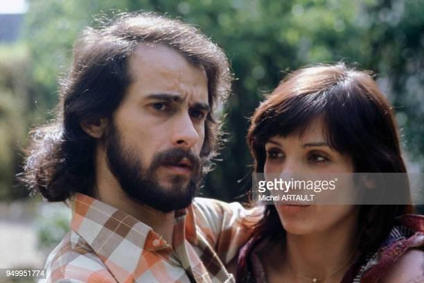 Le chanteur Michel Fugain et son épouse Stéphanie en mai 1974 en France