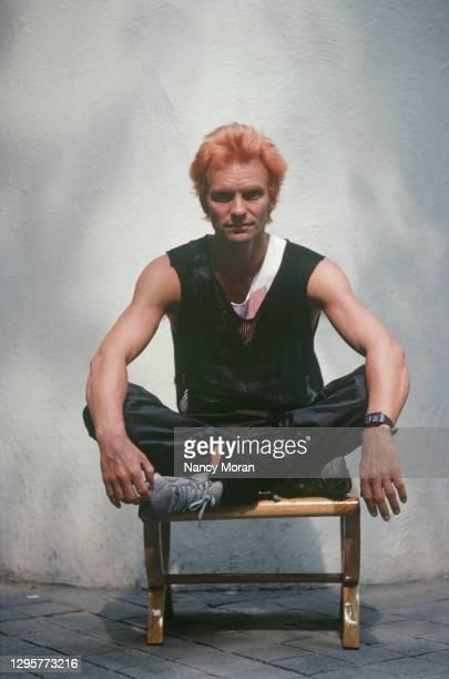Le chanteur Sting du groupe Police aux Etats-Unis.
