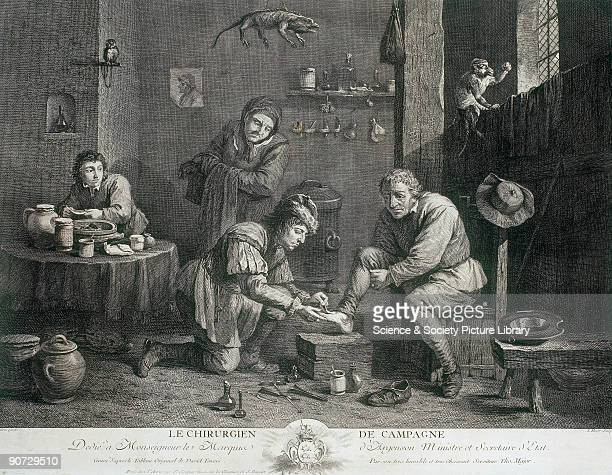 �Le Chirurgien de Campagne' an engraving by Thomas Major after David Teniers showing the interior of a doctor's rooms On the shelf are bottles and...