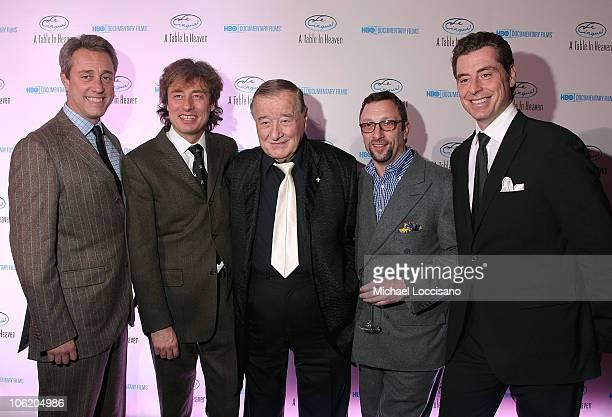 Le Cirque founder Sirio Maccioni sons Mario Maccioni Marco Maccioni and Mauro Maccioni and Peter Elliot attend the New York celebration of the HBO...
