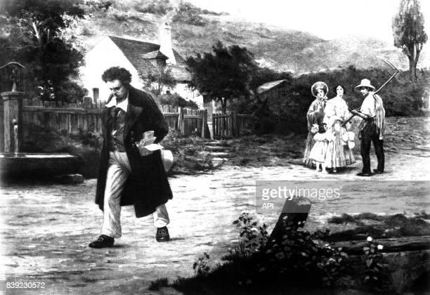 Le compositeur allemand Ludwig van Beethoven se promenant à Heiligenstadt en Autriche