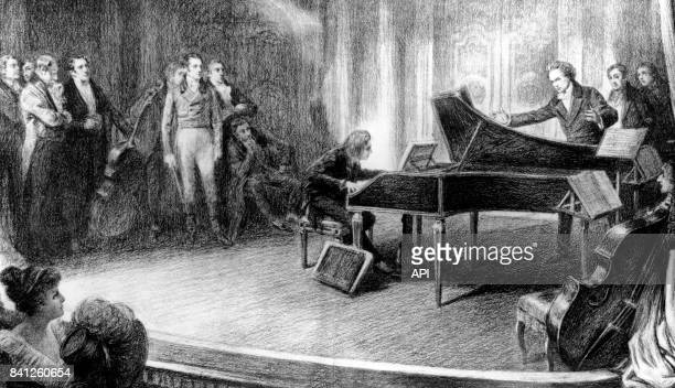 Le compositeur Franz Liszt jouant du piano devant Ludwig van Beethoven