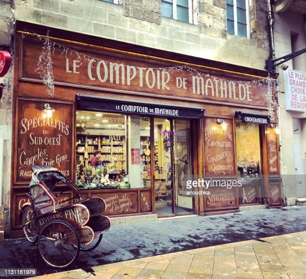le comptoir de mathilde, local groceries store in bordeaux, france - fachada supermercado imagens e fotografias de stock