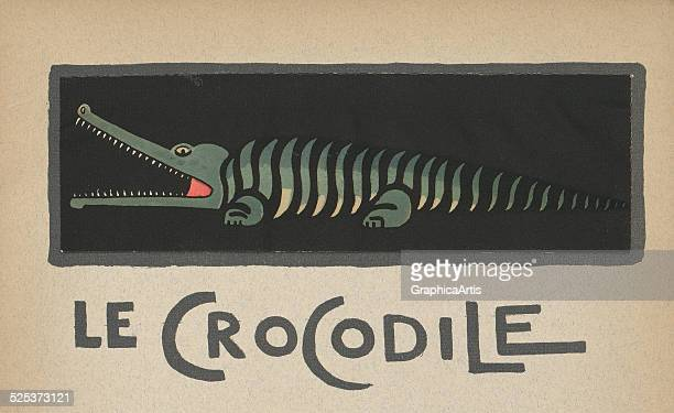 Le Crocodile' vintage illustration for a children's book of a crocodile lithograph by Andre Helle 1912