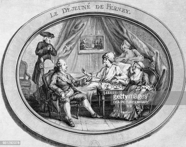 the Jesuit priest Adam the composer JeanBenjamin de La Borde and Madame Denis Voltaire's niece gathered around Voltaire's bed 1775 engraving by...