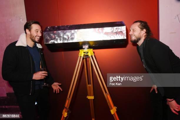 Le Diamantaire and Guilhem de Castelbajac pose with the 'Diamantoscope' during Nektart Wine Party at Palais de Tokyo Art Club on November 29 2017 in...