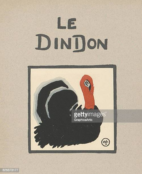 Le Dindon' vintage illustration for a children's book of a turkey lithograph by Andre Helle 1912