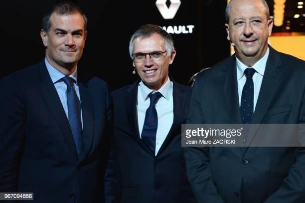 Le directeur de la région Europe au sein du groupe PSA, Maxime Picat à gauche, Carlos Tavares dirigeant portugais d'entreprise à la tête du Groupe...