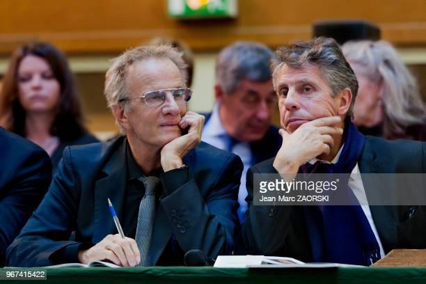 Le députémaire de Beaune Alain Suguenot et l'acteur français Christophe Lambert invité d'honneur cette année de la 155eme vente aux enchères des vins...