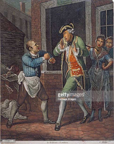 'Le Francois a Londres' 1770 A butcher with doubled fists menaces a French dandy who holds up his hands in alarm while one of two women behind him...