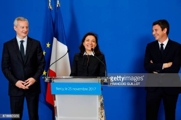 le French Economy Minister Bruno Le Maire newlyappointed French Junior Minister for Economy Delphine GenyStephann and outgoing French Junior Minister...