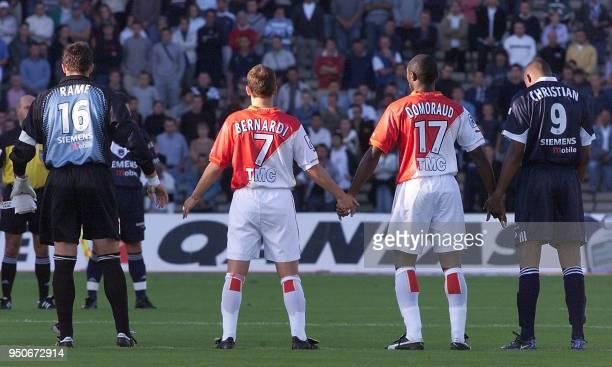 le gardien de but des Girondins Ulrich Rame les Monégasques Lucas Bernardi et Cyrille Domoraud l'attaquant brésilien des Girondins Christian...