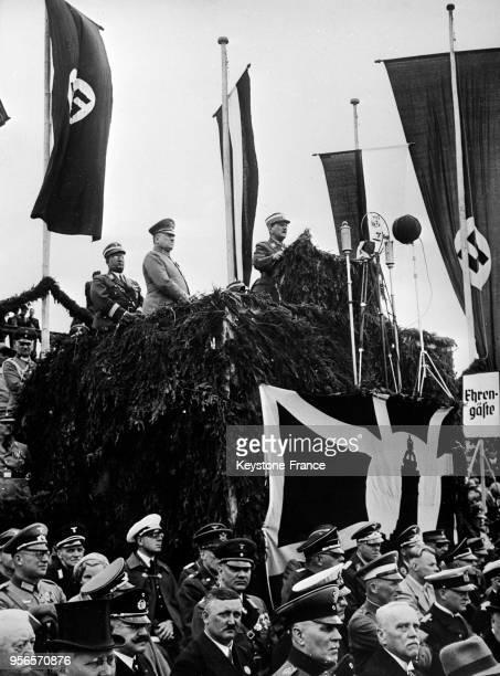 Le général von Epp représentant le Führer harangue la foule des anciens combattants à Cassel Allemagne le 8 juillet 1935