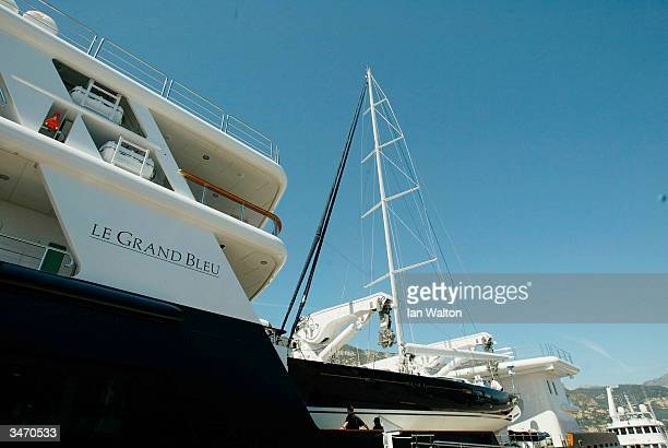 Le Grand Bleu the yacht owned by Russian businessman and Chelsea Football Club owner Roman Abramovich moored in the harbour on April 21 2004 in Monte...
