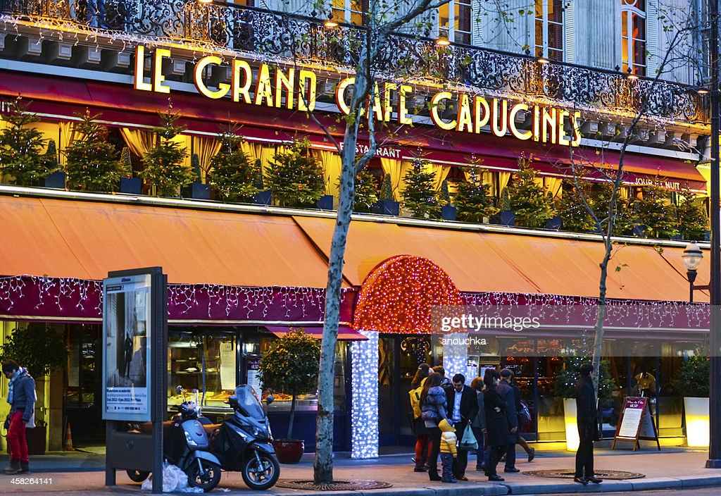 Le Grand Cafe Capucines Decorated For Christmas Holidays Paris Stock ...