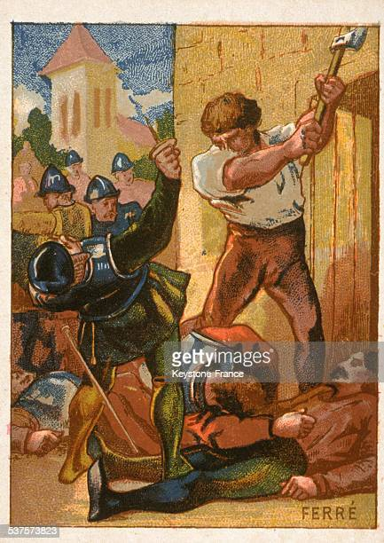 Le Grand Ferre a robust peasant who killed many English with his ax during the Hundred Years War circa 1300
