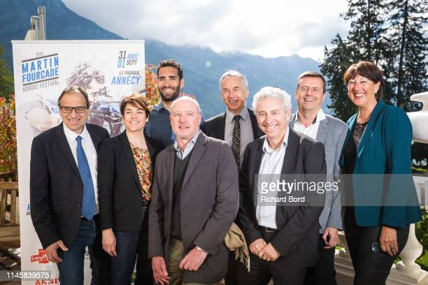 Le GrandBornand Mayor Andre PerrillatAmede AuvergneRhoneAlpes county Vice President Annabel AndreLaurent Biathlete and Promoter Martin Fourcade a...