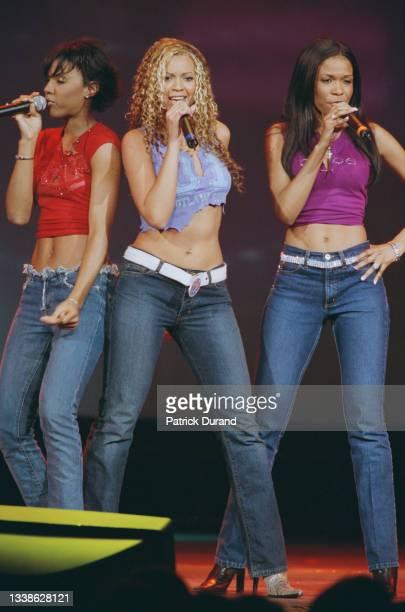 Le groupe Destiny's Child lors de la cérémonie d'ouverture d'investiture du 43eme président des Etats-Unis George W. Bush. Ici, de gauche à droite :...