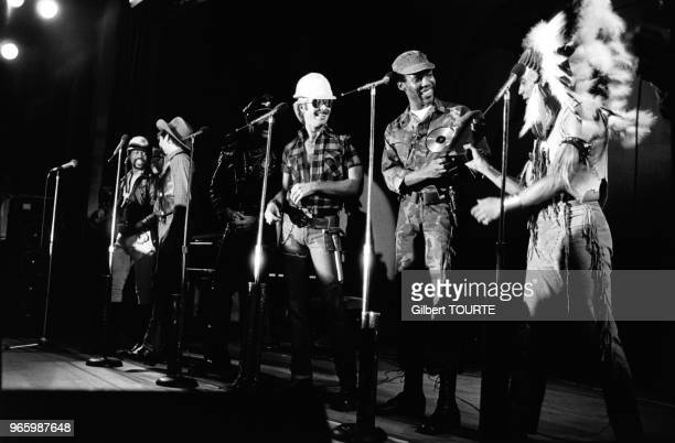 Le groupe disco 'Village People' au MIDEM de Cannes France en janvier 1980