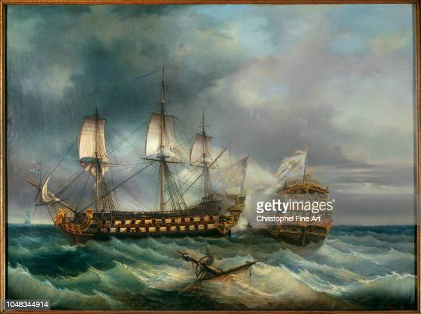 Le Guen Leopold Naval battle between the French ship Le Languedoc and an English ship in 1778 Museum of Fine Arts of Brest