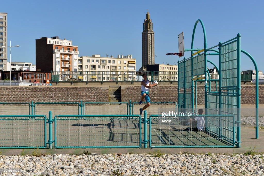 Le Havre, basketball court and buildings along the waterfront. : News Photo