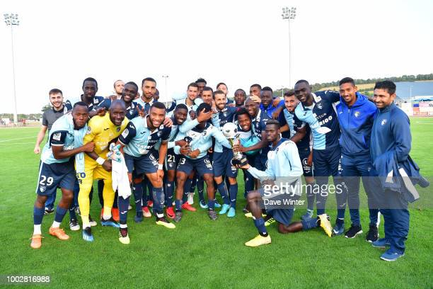 Le Havre celebrate winning the preseason friendly match for the Trophee des Normands between Caen and Le Havre on July 20 2018 in Vire France