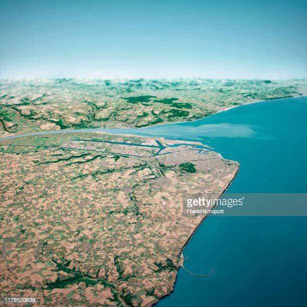 le havre france 3d render aerial horizon view from north jul 2019 - frank ramspott stock pictures, royalty-free photos & images