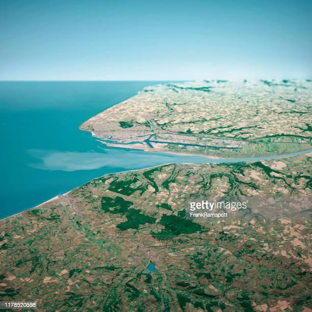 le havre france 3d render aerial horizon view from south jul 2019 - frankramspott foto e immagini stock