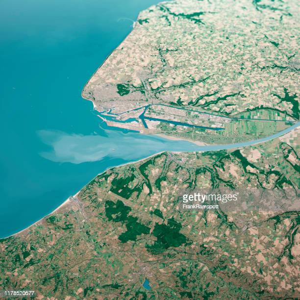 le havre france 3d render aerial landscape view from south jul 2019 - frank ramspott stock pictures, royalty-free photos & images