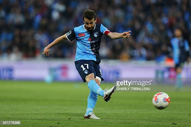 Le Havre's Alexandre Bonnet scores a goal during the French L2 football match between Le Havre and BourgenBresse on May 13 2016 at the Oceane stadium...
