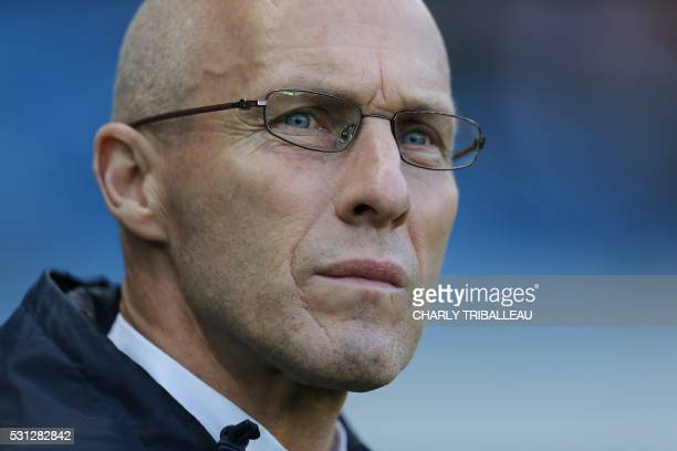 Le Havre's head coach Bob Bradley looks on during the French L2 football match between Le Havre and BourgenBresse on May 13 2016 at the Oceane...