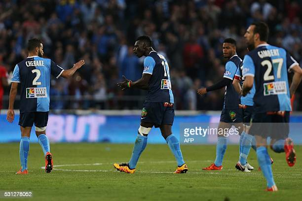 Le Havre's Joseph Mendes celebrates after scoring a goal during the French L2 football match between Le Havre and BourgenBresse on May 13 2016 at the...