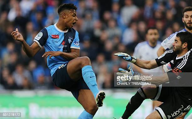 Le Havre's Lys Mousset vies with BourgenBresse's Julien Fabri during the French L2 football match between Le Havre and BourgenBresse on May 13 2016...