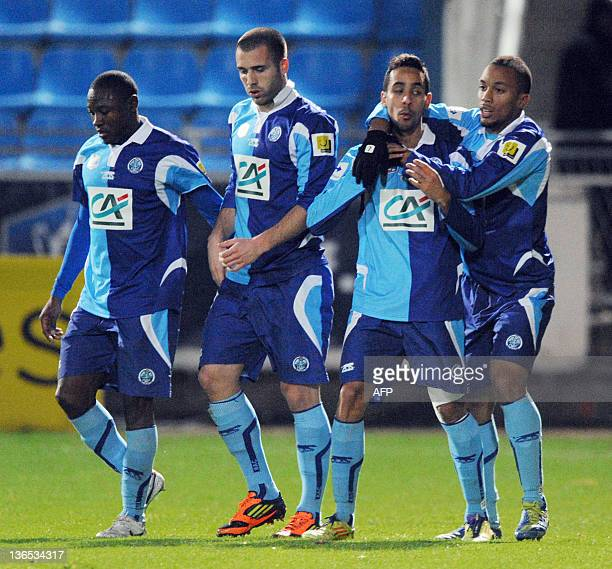 Le Havre's players Cameroonian forward Paul Alo'o Efoulou French forward Yohann Riviere French midfielder Walid Mesloub French forward forward Franck...