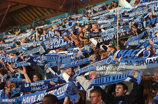 Le Havre's supporters celebrate after Le Havre won its French L2 football match Le Havre vs Sedan on April 22 2008 at the Jules Dechaseaux stadium in...
