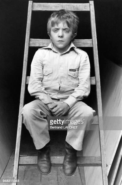 Le jeune acteur David Bennent sur le tournage du film 'Lulu' dans lequel joue sa soeur Anne Bennent le 1er octobre 1979 à Berlin Allemagne