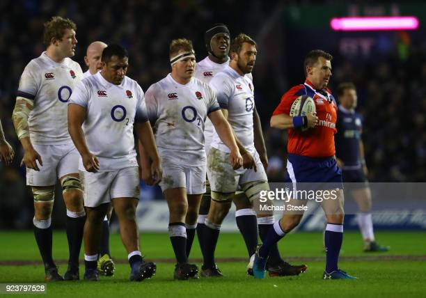 le Joe Launchbury Mako Vunipola Dylan Hartley Maro Itoje and Chris Robshaw of England show their frustrations during the NatWest Six Nations match...