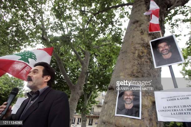 Le journaliste Edwy Plenel prononce un discours le 04 juin 2005 à Paris lors d'une manifestation devant l'Institut du monde arabe en mémoire du...
