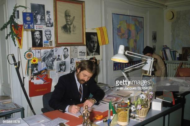 Le journaliste François Brignaud fondateur du journal 'Présent' le 4 mai 1984 à Paris France