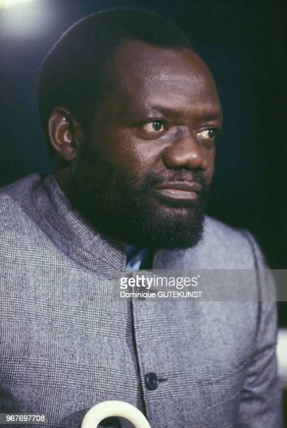 Le leader indépendantiste et fondateur de l'UNITA Jonas Savimbi le 22 octobre 1986 au Parlement européen à Strasbourg France