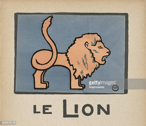Le Lion' vintage illustration for a children's book of a lion lithograph by Andre Helle 1912