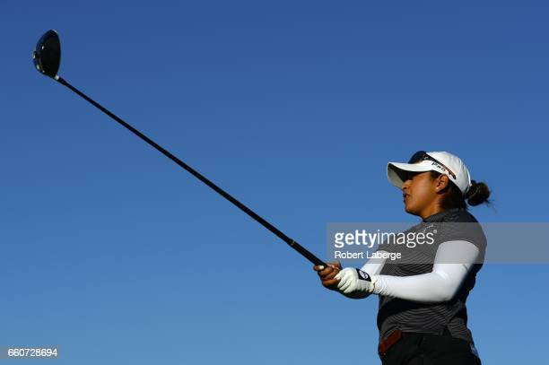 Le Lopez makes a tee shot on the second hole during round one of the ANA Inspiration on the Dinah Shore Tournament Course at Mission Hills Country...