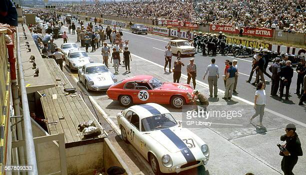Le Mans 24 Hours 11th June 1961 Car no 37 Robert Buchet/Pierre Monneret Porsche 356B Carrera Abarth GTL retired and car no 36 Herbert Linge/Ben Pon...