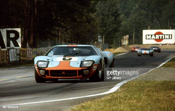 Le Mans 24 Hours 15th June 1969 Jacky Ickx/Jackie Oliver Ford GT40 race winner Car no 7 in background David Hobbs/Mike Hailwood Ford GT40 finished 3rd