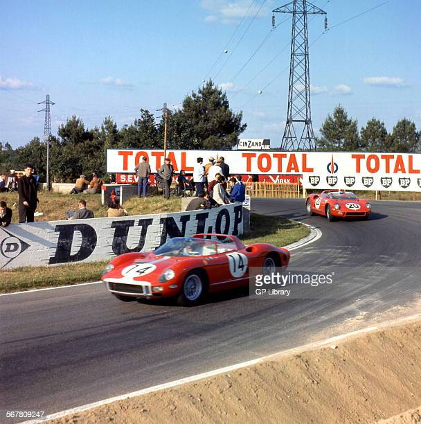 Le Mans 24 Hours 22nd June 1964 Car 14 Graham Hill/Jo Bonnier Ferrari 330 P finished 2nd and car no 20 Jean Guichet/Nino Vaccarella Ferrari 275P race...
