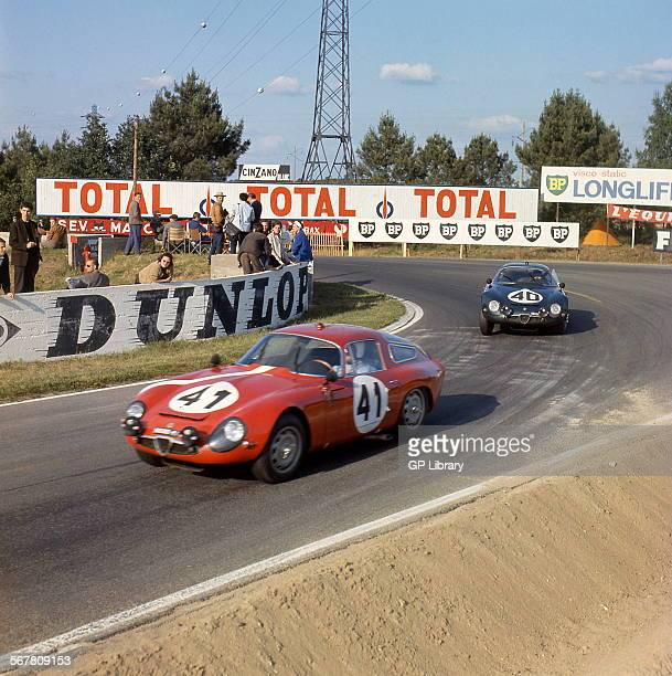 Le Mans 24 Hours 22nd June 1964 Giancarlo Sala/Giampiero Biscaldi Alfa Romeo Giulia TZ finished 15th and car no 40 Jean Rolland/Fernand Masoero Alfa...