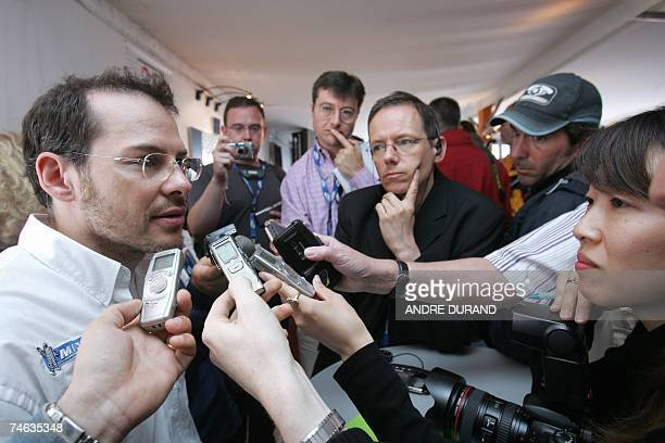 Canadian driver Jacques Villeneuve answers to journalists 15 June 2007 in Le Mans western France after a press conference of the French car maker...