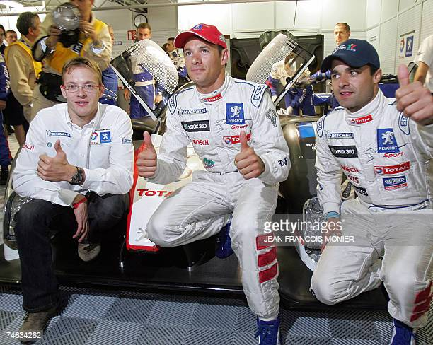 French driver Stephane Sarrazin Peugeot 908 HDiFAP flanked by teammates Pedro Lamy from Portugal and Sebastien Bourdais from France three times Champ...