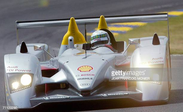 Scottish driver Allan McNich steers his car a dieseldriven Audi R 10 prototype 04 June 2006 in Le Mans western France during a free practice session...